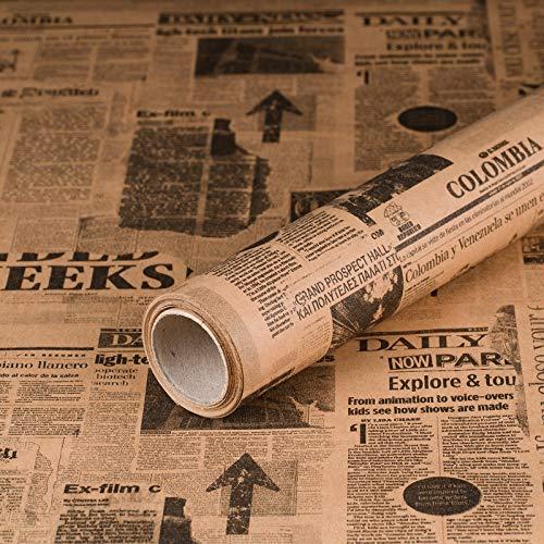 Geschenkpapier Newspaper Zeitung, Kraftpapier, glatt, 60 g/m², Geburtstagspapier, Vintage - 1 Rolle 0,7 x 10 m