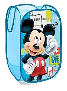 Superdiver Cesta plegable infantil de tela con asas para ropa sucia y juguetes, diseño Mickey Mouse de Disney 36x36x58 centímetros color azul