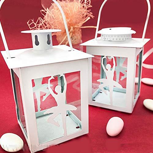 Ingrosso e Risparmio Piccola Lanterna in Metallo Bianco con Ballerina Danza Classica stilizzata, Porta Candele o con LED, bomboniere Comunione Bambina (E1T12393 - con LED-con Confezione Panna)