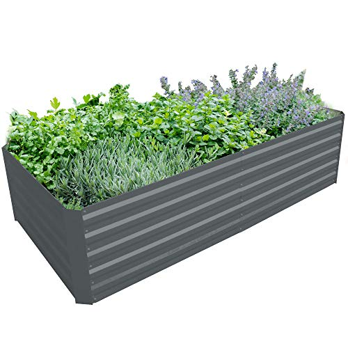BLUEBERRY HILL Galvanized Steel Raised Garden Bed Extra Height Large Steel Planter Box for...