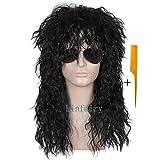 Linfairy Heavy Metal Rocker Black Adult Wig ヘビーメタルロッカーブラック大人ウィッグ サイズ