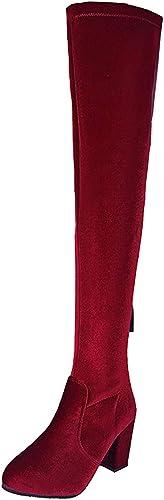 ZHRUI botas de Gamuza Rodilla (Color   Vino rojo, tamaño   37EU)