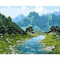 大人と子供のための数字でペイント 川と山 Diyの油絵ブラシでキャンバスを描く数字で描く装飾装飾祭ギフト-16x20インチフレーム付き
