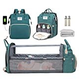 Diaper Bag Backpack, Diaper Bag with Changing Station, Large Capacity Travel Diaper Bag with Foldable Baby Bed, Travel Bassinet with USB Charging Port and Insulated Pocket, Green