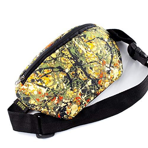 Crossbody Bag Belt Waist Packs Pollock canvas Casual Daypack, Waist Pocket, Adjustable belt bag, famous art canvas, for running(Gold)