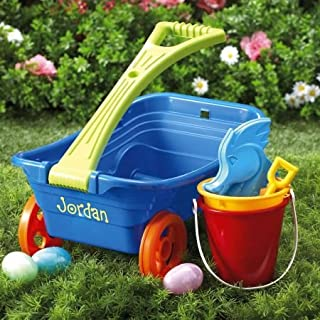 Lillian Vernon Personalized Plastic Wagon Set - Includes Sand Bucket, Shovel, 3 Sand Molds, Kids Toys, Easter Basket Gifts, Baby's First Egg Hunt, 9 Inches x 11 Inches x 18 Inches