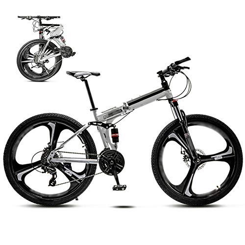 YRYBZ 24 Pulgadas 26 Pulgadas Bicicleta de Montaña Unisex, Bici MTB Adulto, Bicicleta MTB Plegable, 30 Velocidades Bicicleta Adulto con Doble Freno Disco/Blanco/A Wheel / 24'