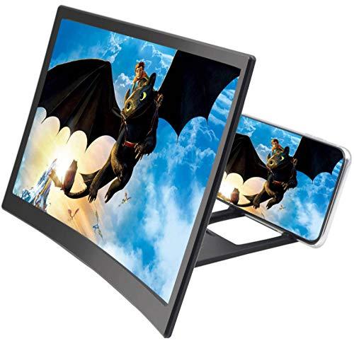 SUI Mobiler Bildschirmverstärker,3D-gebogener Bildschirm,Faltstrahlungsbeständig,Ermüdungshemmend,für alle Smartphones geeignet,Schwarz