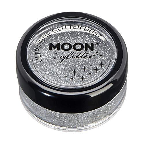 Klassischer ultrafeiner Glitter-Staub von Moon Glitter - 100% kosmetische Glitzer für Gesicht, Körper, Nägel, Haare und Lippen - 5g - Silber