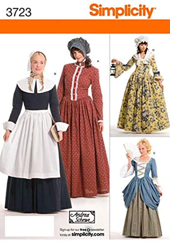 Simplicity 3723 Historical Pioneer Sewing Pattern for Women by Andrea Schewe, 6-12