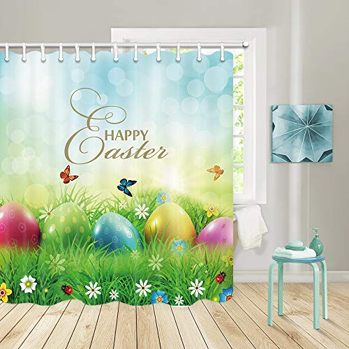 JAWO Easter Shower Curtains for Bathroom, Colorful Easter Egg Bath Curtains Perfect for Easter Themed Bathroom 72 X 72 Inches