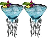 Octopus Cocktail Glass, Cerahome Transparent Martini Glass Creative Jellyfish Glass Cup Juice Glass For Kitchen Bar Party Wedding (Couple)