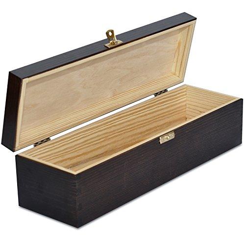 Creative Deco Braune Wein-Kiste aus Natürliches Kiefern-Holz | Wein-Box für 1 Flasche mit Deckel und Verschluss | 35,1 x 11 x 10 cm | Perfekt für Lagerung, Dekoration oder als Geschenk-Holzkiste