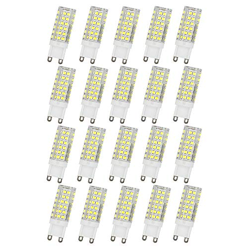 Ruihua - Bombilla LED G9 de 9 W, equivalente a una lámpara halógena de 85 W, 6000 K, blanco frío, no regulable, ángulo de haz de 360 °, 850 lúmenes G9 AC220-240V, 20 unidades