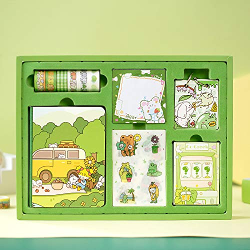 Doraking Cute Cartoon Life Style Memo Notes Writing Pads Scrapbook Decorations TODO List with 6Rolls Masking Tapes for Planning, Doraking Memos Tapes Set (Green)
