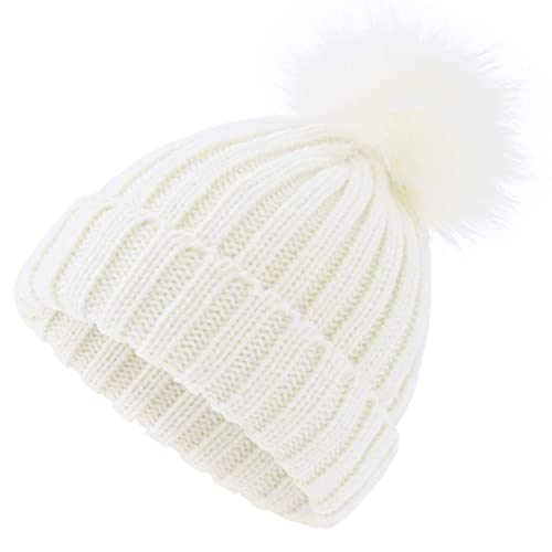 147c1f4a505 ElifeAcc 2018 Warm Winter Fur Hat Knitted Pom Pom Beanie Bobble Hats for  Outdoor Camping Ski