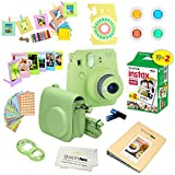 Fujifilm Instax Mini 9 Camera + Fuji INSTAX Instant Film (20 Sheets) + 14 PC Instax Accessories kit Bundle, Includes; Instax Case + Album + Frames & Stickers + Lens Filters + More (Lime Green)