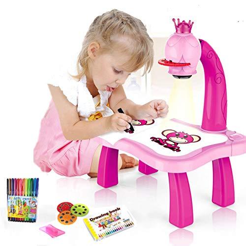 Abilieauty Trace and Draw Proyector de juguete para niños Proyector de dibujo Mesa de aprendizaje infantil con proyector inteligente con música ligera