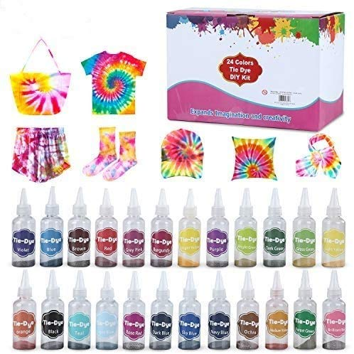 24 Colors Fabric Tie Dye Kit for Party, Gathering, Festival, User-Friendly, Add Water Only Perfect Thanksgiving Christmas Gift,Rainbow,Non-Toxic,Permanent