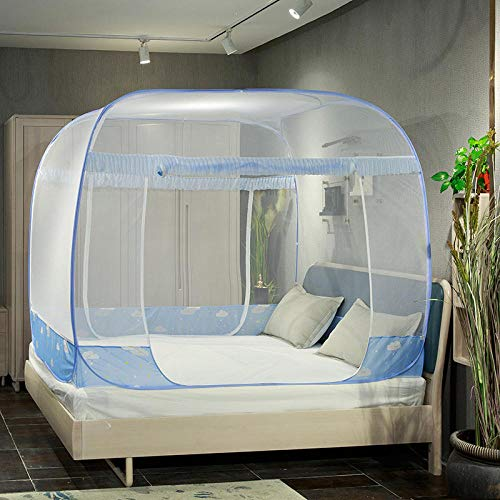 mosquito net Bed Canopy for bed Mongolian yurt mosquito net anti-mosquito three open door square Netting Curtains for Decoration Travel Hanging Kit Deer-cafe_180*220cm