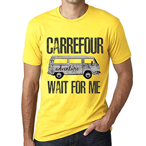 One in the City Hombre Camiseta Vintage T-Shirt Gráfico Carrefour Wait For Me Amarillo