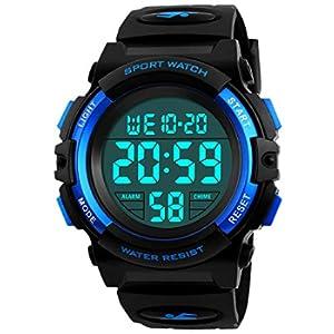 ragazzi orologi digitali, bambini sport 5 atm impermeabile orologio con sveglia/cronometro/EL Light, blu per bambini all' aperto orologio digitale per adolescenti Ragazzi by BHGWR