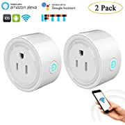 niceEshop(TM) WIFI Smart Plug Mini Remote Control Intelligent Socket Work with Amazon Alexa No Hub Required Home Timing Function Switch Plug (2 Pack)