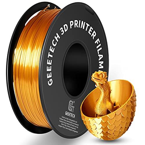 GEEETECH PLA filament 1.75mm Silk Gold, 3D Drucker Filament PLA 1kg Spool