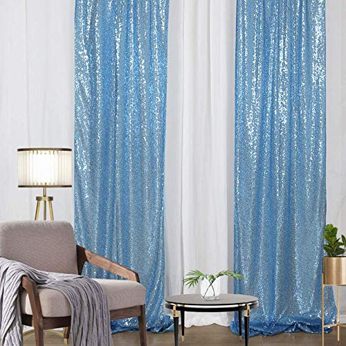 Sequin Backdrop Lavender 2 Pieces 2FTx8FT Elegant Shimmer Sequin Fabric Photography Background Wedding Glitter Backdrop Decoration