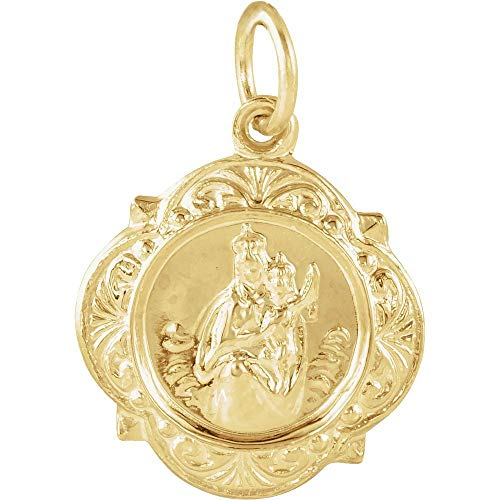 Solid 14k Yellow Gold 12.14x12.09mm Scapular Medal (12mm x 12mm)