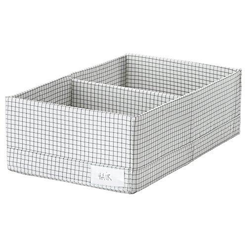 IKEA ASIA STUK - Caja con Compartimentos 34x20x10 cm, Color Blanco y Gris