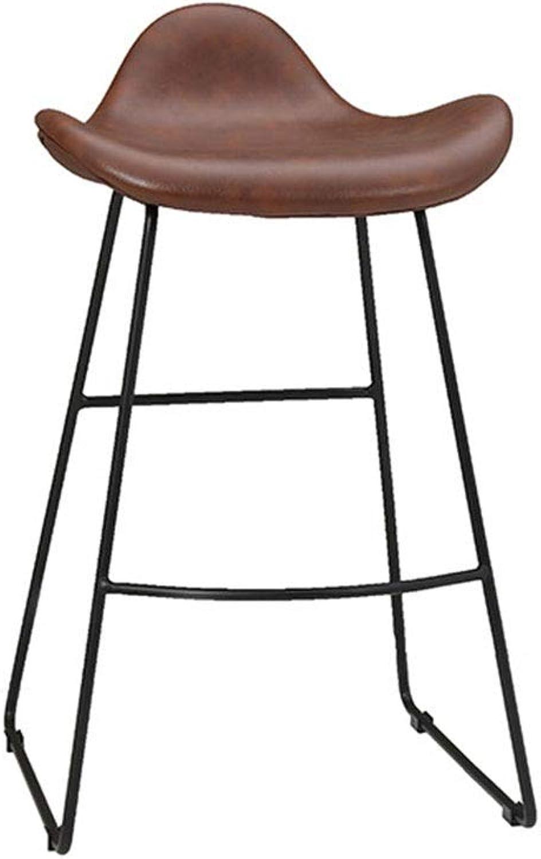 Nordic Vintage High Stools,Leather Metal Bar Stool with Backrest Brown Ergonomics 0527BAR22 (Size   75cm)