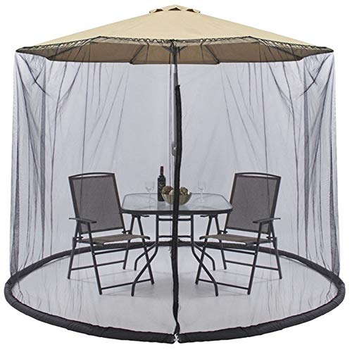 NKLC Outdoor Umbrella Table Screen, Patio Table Umbrellas, Mesh Mosquito Net Canopy Curtains, Adjustable Large Umbrella Hanging Tent(Black)