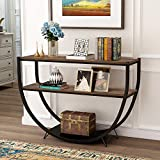 P PURLOVE Retro Style Console Table 2 Tier Sofa Table for Entryway with Storage Shelves Metal Frame (Brown and Black)