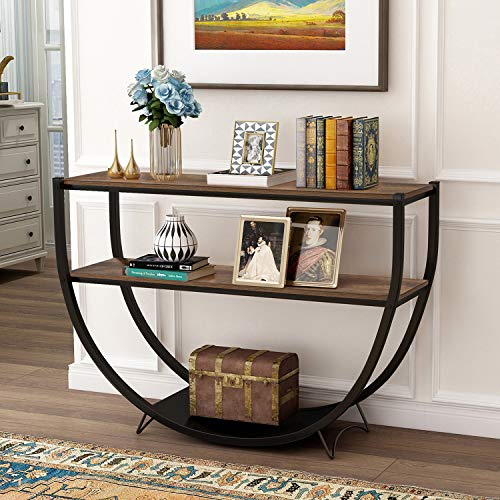 P PURLOVE Retro Style Console Table 2 Tier Sofa Table for Entryway with Storage Shelves Metal Frame (Rustic Brown)