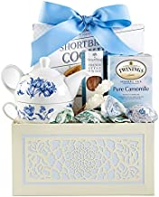 GreatFoods Tea Gift Basket, Includes Twinings Camomile tea, stoneware blue flower tea pot and cup