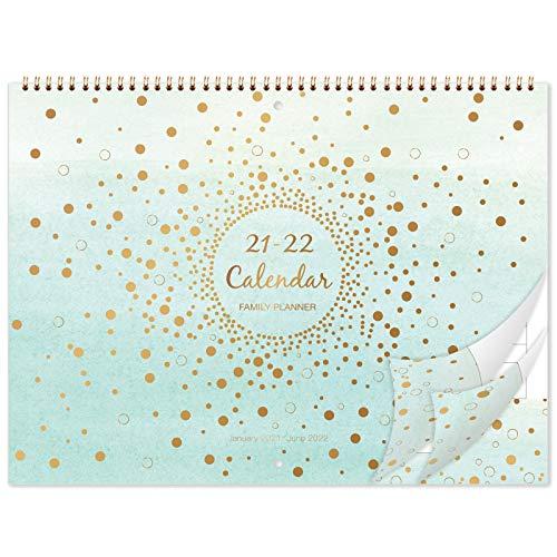 Eono by Amazon - Calendario da parete 2021-2022, calendario dell'agenda di 18 mesi da gennaio 2021 a giugno 2022, agenda mensile della scuola familiare da gennaio 2021 a giugno 2022, 37,3 cm x 29 cm