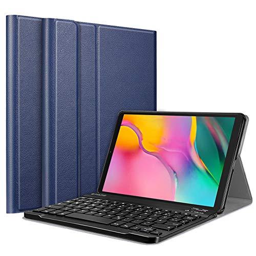 Fintie Tastatur Hülle für Samsung Galaxy Tab A 10.1 Zoll 2019 SM-T510/T515 Tablet-PC - Ultradünn leicht Schutzhülle mit magnetisch Abnehmbarer drahtloser Deutscher Bluetooth Tastatur, Marineblau