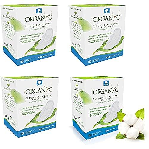 Organyc Serviettes Hygiéniques Jour avec Ailettes, 100% Coton, Bio, 10 Unités, Lot de 4