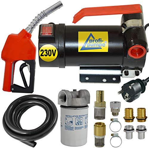 BOMBA DIESEL - BOMBA COMBUSTIBLE - BOMBA DE GASOIL'Diesel 160-4' 230V BOMBA TRASVASE GASOLEO con manguera de goma de 6m, pistola de aluminio, filtro diesel y accesorios