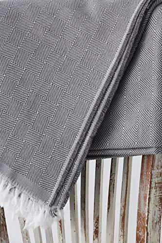 Textil-home Bettüberwurf, Mehrzweck/Plaid 235 x 285cm - Eignet Sich als Sofaüberwurf und auch als Tagesdecke. Farbe Grau