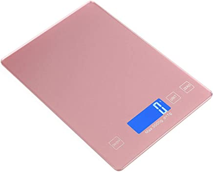 Digital Kitchen Scales, with Charging Port Electronic Smart Scales Portable Precision Gram Stainless Steel Food Cooking Scales with LCD Display and Tare Function Capacity: 5kg / 1g,Pink