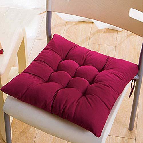 MGE Juego de 4 cojines para sillas de comedor, 40 x 40 cm, para uso en interiores y exteriores (color: rojo vino)