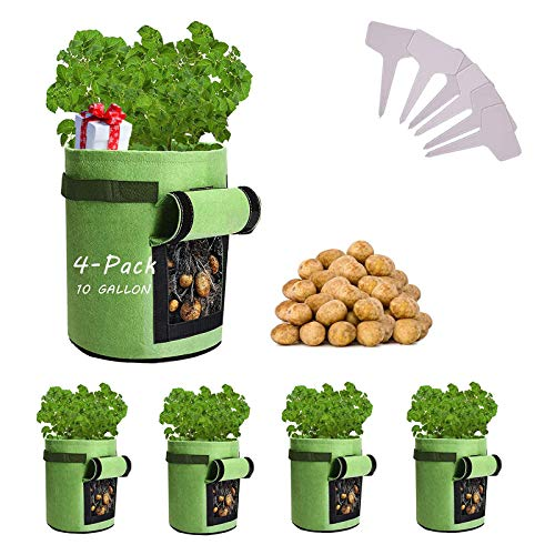 Potato-Grow-Bags, 4 Pack 10 Gallon Felt Potatoes Growing Containers with Handles&Access Flap for Vegetables,Tomato,Carrot, Onion,Fruits,Plants Planting Bag Planter (4-Pack)
