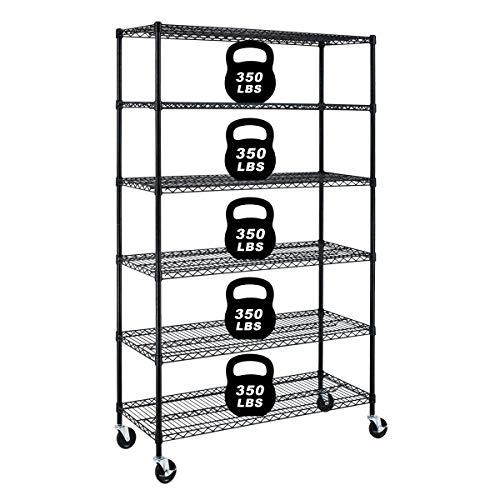 6 Tier Wire Rack Storage Shelves Heavy Duty Metal Shelf Wire Shelving Unit with Wheels NSF Utility Shelves Height Adjustable Kitchen Garage Shelf Racks, 82'x 48'x 18', Black