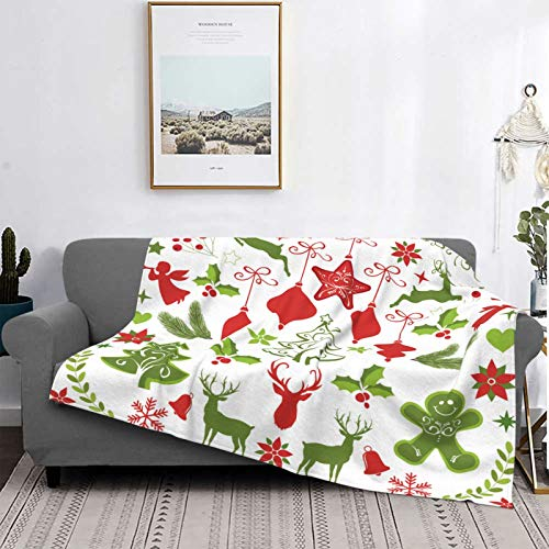YOLIKA Throw Blanket Lightweight Ultra-Soft Fleece Warm,Santa Strange Sleigh Snow Scene,Microfiber All Season Living Room/Bedroom/Sofa Couch Bed Flannel Quilt,50' X 40'