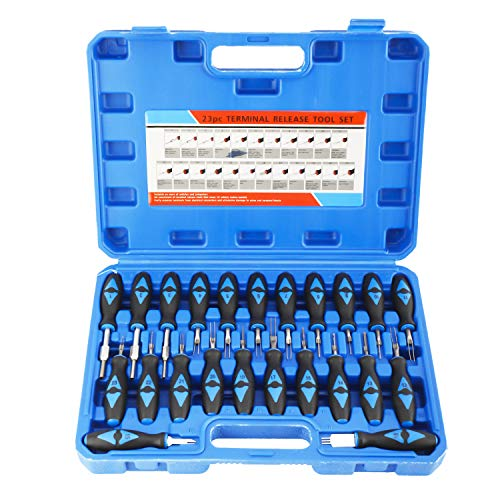 KUNTEC 23 Piece Universal Terminal Release Kit Electrical Terminal Removal Tool for American Domestic and Imported Vehicles