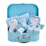 Baby Geschenk Baby Junge mit Baby Set Neugeborenen Set Junge einschließlich Rassel, Fotorahmen, Musselin Tuch, Lätzchen, Socken, Handschuhe und Mütze