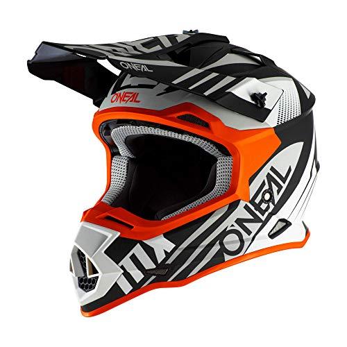 O\'NEAL | Motocross-Helm | MX Enduro | ABS-Schale, Sicherheitsnorm ECE 22.05, Lüftungsöffnungen für optimale Belüftung & Kühlung | 2SRS Helmet Spyde 2.0 | Erwachsene | Schwarz Weiß Orange | Größe M
