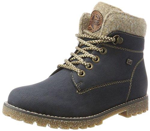 Rieker Kinder Mädchen K1568 Combat Boots, Blau (Pazifik/Wood/Chestnut), 33 EU